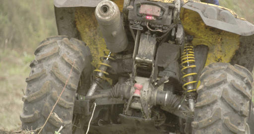 The back of the 4x4 offroad vehicle running on the Footage