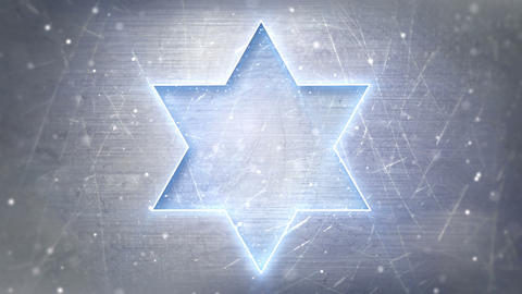 Star of David neon glowing on metal loop backgroun Animation