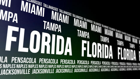 Florida State and Major Cities Scrolling Banner Animation