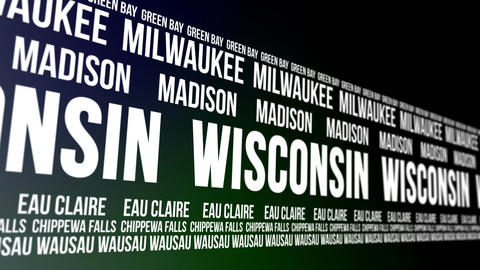 Wisconsin State and Major Cities Scrolling Banner Animation