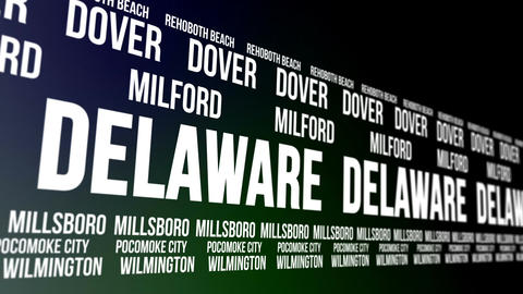 Delaware State and Major Cities Scrolling Banner Animation