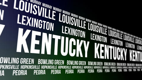 Kentucky State and Major Cities Scrolling Banner Animation