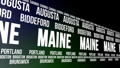 Maine State and Major Cities Scrolling Banner Animation