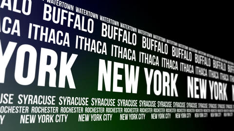 New York State and Major Cities Scrolling Banner Animation