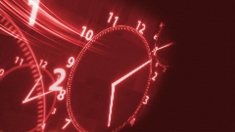 Red Clock Time Illusion Background stock footage