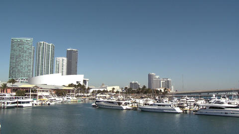 View of the Bayside Marina in Miami Footage