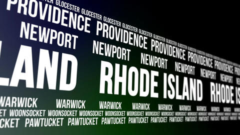 Rhode Island State and Major Cities Scrolling Bann Animation