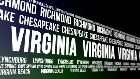Virginia State and Major Cities Scrolling Banner Animation