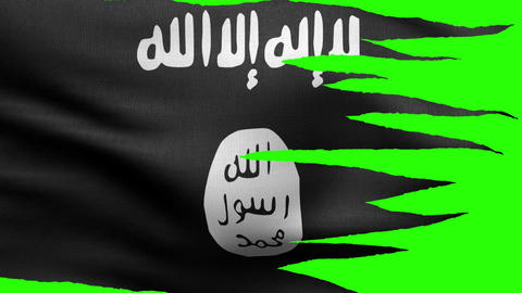 Flag Of The Islamic State Tattered HD stock footage