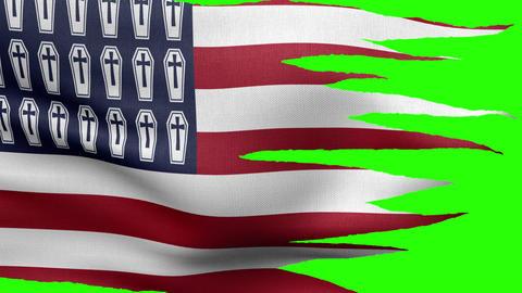 USA 2 flag tattered HD Animation