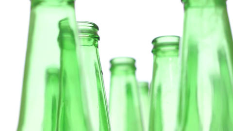 Bottles Green Recycling Standing Zoom Footage