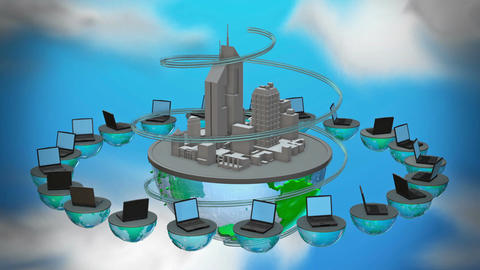 Urban internet world . Loop animation Animation