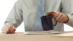 Male Office Worker Spills Coffee Live Action