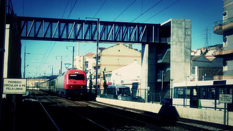 Red Train Arriving stock footage