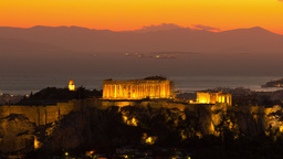 4 K Acropolis Evening Night Red Sky Timelapse stock footage