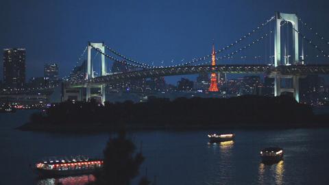 Two famous Tokyo landmarks. The Rainbow Bridge and Footage
