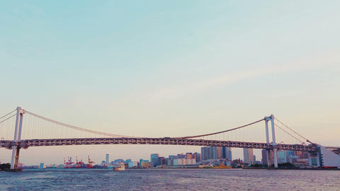 Tokyo's Famous Rainbow Bridge Taken From A Ship On stock footage