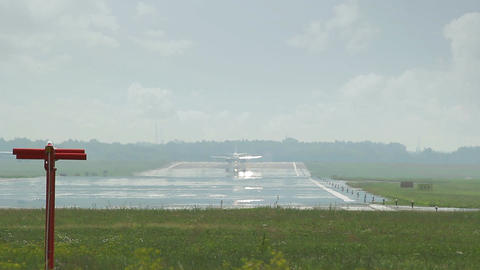 Large airliner waiting at end of runway Footage
