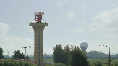 Twin Radar Towers At Major Airport stock footage