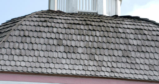 The Wooden Shingles From The Wooden Roof Of A Chur stock footage