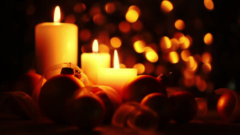 Christmas Candles on a Dark Background Footage