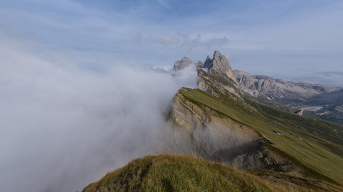 Fisheye Time Lapse Pan Seceda Geissler Mount 11563 stock footage