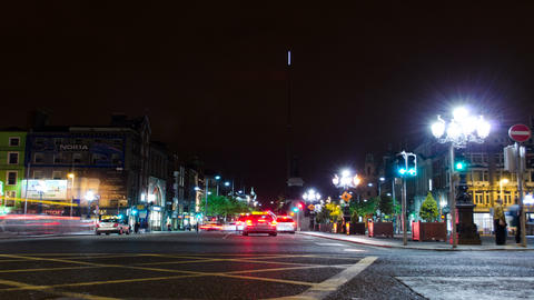 4K. Car Traffic On Night Streets. Timelapse Footage