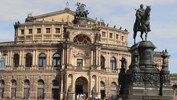 Dresden Semper Opera, Germany. Statue of King John Footage