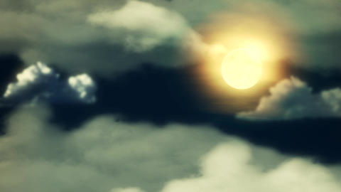 Clouds And Moon Yellowish Tint stock footage