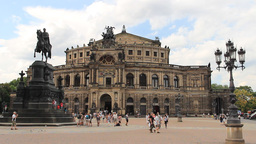 Dresden Semper Opera, Germany. Statue of King John Footage