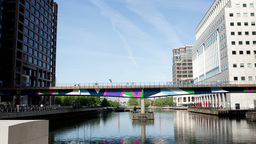 docklands bridge london business district Footage