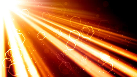Golden Light Rays and Hexagons Animation
