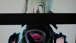 4k military static woman gasmask Footage