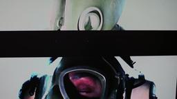 4k Military Static Woman Gasmask stock footage