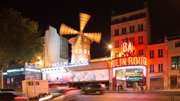 moulin rouge at night, paris france 4k Footage