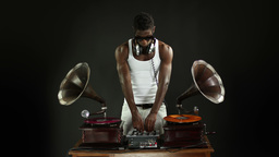 cool dj with gramophones Footage