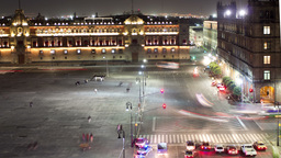 mexico city zocalo cathedral night 4k Footage