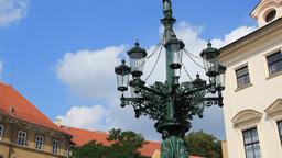 Old street lamppost near the Prague castle Footage