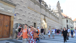 Tourists In Front Of The Schwarzenberg Palace, Pra stock footage