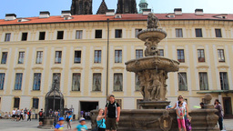 The fountain in the courtyard of the Prague Castle Footage