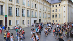 Prague. Tourists in courtyard between Prague Castl Footage