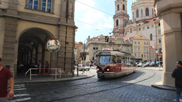 Tram in Prague, Czech Republic. Urban scenes Live Action