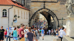 Prague, Czech Republic. View from the Charles brid Live Action