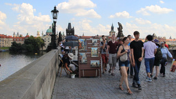 Prague, Czech Republic. People on the Charles brid Footage