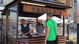 Tredelnik - sweet pastries. Prague, Czech Republic Live Action