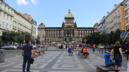 Prague. Wenceslas Square and National Museum Footage
