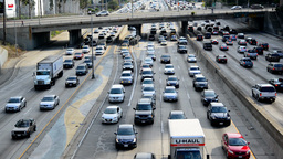 2013 July Downtown Traffic 1 RT stock footage