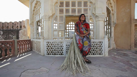 Indian Woman With Reed Broom Stock Video Footage
