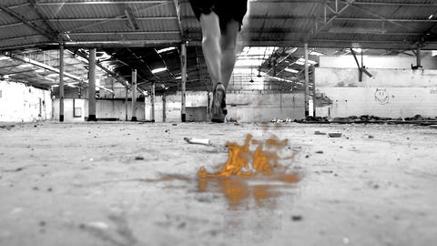sexy beautiful girl dancing woman black dress warehouse high heels red rose walking fire Footage