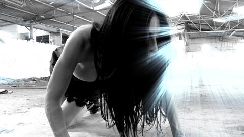 sexy beautiful girl dancing woman black dress warehouse high heels sexy beautiful girl woman Eye eye Live Action